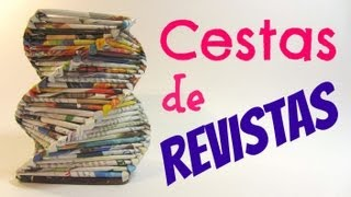 getlinkyoutube.com-Como hacer cestas con revistas. Baskets made with magazines.