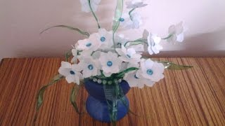getlinkyoutube.com-Best Out of Waste Plastic Transformed to Elegant White Flowers Showpiece