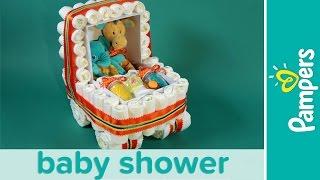 getlinkyoutube.com-How to Make a Stroller Diaper Cake | Pampers Baby Shower Ideas