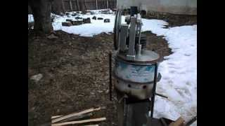 getlinkyoutube.com-Stirling engine and rocket stove -test run