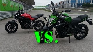 getlinkyoutube.com-Kawasaki Er6n VS Yamaha MT07