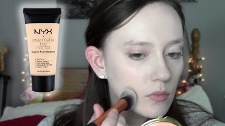 getlinkyoutube.com-NYX Stay Matte but Not Flat Liquid Foundation First Impressions (dry skin)