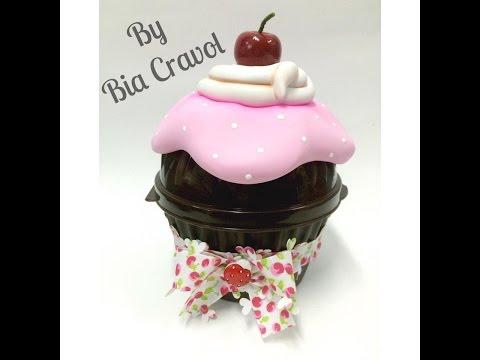 Porta acessórios de Cupcake em biscuit, by Bia Cravol no Programa Arte Brasil