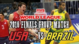 USA vs  BRAZIL 2016 World League Volleyball FINALS Group Match   FULL MATCH All Breaks Removed