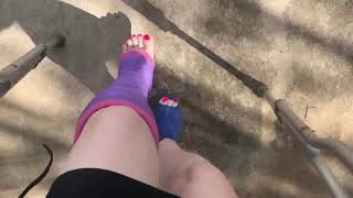 Pink Toes - Purple LLC - Crutching - Blue Heels