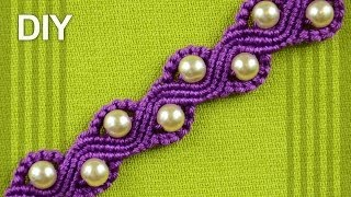 getlinkyoutube.com-How to Make a SNAKE or a WAVE Macrame Bracelet with Beads