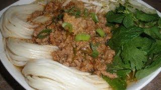 getlinkyoutube.com-How to make Ground Pork and Shrimp Rice Noodle Soup