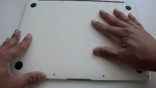 "getlinkyoutube.com-MacBook Air 13"" 2nd gen Bottom Skin Install - White Carbon Fiber by STICKERBOY"