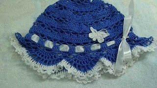 getlinkyoutube.com-Панама крючком детская, вязание для начинающих,baby hat for summer