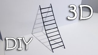 getlinkyoutube.com-DIY 3D Ladder - How To Draw Ladder Optical Illusion