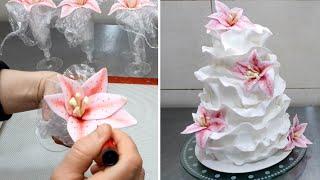 getlinkyoutube.com-How to make a beautiful and easy fondant ruffle cake. Pastel con volantes de fondant.