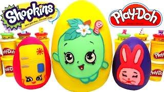 getlinkyoutube.com-3 Huevos Sorpresas Gigantes de Shopkins en Español de Plastilina Play Doh