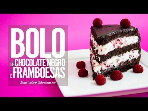 Receita de Bolo de Chocolate Negro com Framboesas