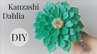getlinkyoutube.com-DIY Kanzashi Dahlia Flower headband/Ribbon flowers