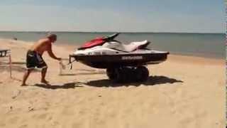 getlinkyoutube.com-One Person Watercraft Beach Cart Launch Video