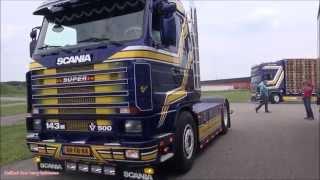 getlinkyoutube.com-Scania 143M & Scania R620 V8 Sound - Oostenbrugge Pallets & Transport op Truckshow