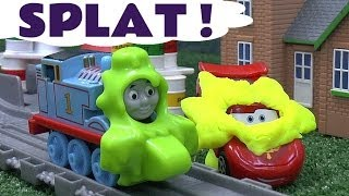 getlinkyoutube.com-Play Doh covered Disney Cars 2 Lightning McQueen Thomas And Friends Take N Play Spills & Thrills Toy