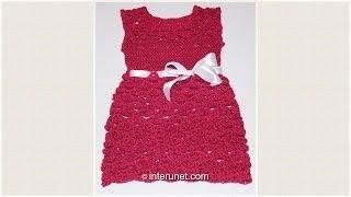 getlinkyoutube.com-Crochet toddlers' dress using V stitch shell pattern