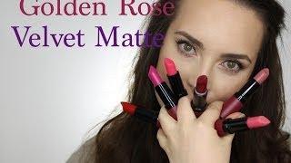 getlinkyoutube.com-Pierwsze wrażenie + próbki kolorów - zdjecia kontra rzeczywistość Golden Rose velvet matte lipstick