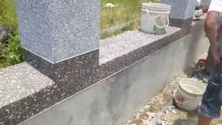 getlinkyoutube.com-Cement rendering with small stones on brick walls