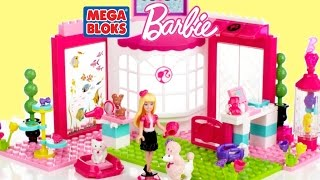 getlinkyoutube.com-Barbie Lego Mega Bloks Barbie Build N Play Pet Shop Barbie Doll & Cute Puppies | TheChildhoodLife