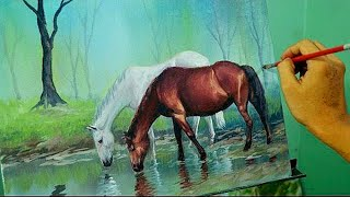 getlinkyoutube.com-Acrylic Painting Lesson - Horses in the Misty Forest by JM Lisondra