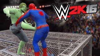 getlinkyoutube.com-WWE 2K16 - Spiderman Vs The Incredible Hulk - Hell In a Cell Match
