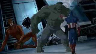 getlinkyoutube.com-Captain America, Iron Man, Thor, Nick Fury, Giantman and  Wasp VS The Hulk  = The Ultimate Fight