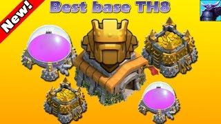 Town Hall 8 (TH8) Best base TH8 FARMING BASE! / CoC BEST TOWN HALL 8 HYBRID BASE DEFENSE 2016!