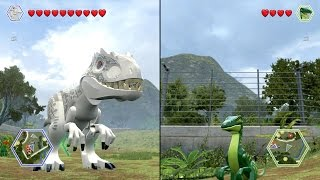 getlinkyoutube.com-LEGO Jurassic World - Indominus Rex vs Compsognathus - CoOp Fight | Free Roam Gameplay [HD]