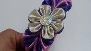 getlinkyoutube.com-Flores kanzashi en tela para diademas, video 579, Flower satin ribbon - DIY