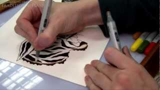 getlinkyoutube.com-Traditional Flash - How To Draw and Paint Tattoo Flash Tutorial - Tiger, Panther, Rose