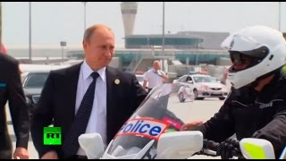 getlinkyoutube.com-RAW: Putin shakes hands with Aussie motorcycle cops before boarding for G20 exit