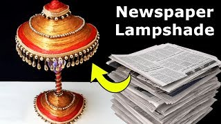 getlinkyoutube.com-DIY Newspaper Craft Lampshade | How to Make Easy Recycled Craft from Newspaper | Best Out of Waste