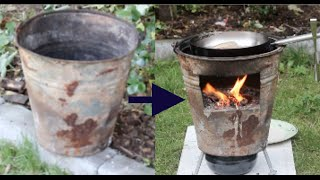 getlinkyoutube.com-DIY Recycling #3 - Wood Stove for outdoor cooking