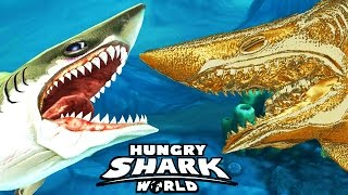 getlinkyoutube.com-Hungry Shark World - Megalodon vs Gold Enemy Megalodon