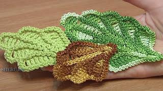 getlinkyoutube.com-Crochet Oak Leaf Урок 16 Великолепный объемный дубовый листик связанный крючком