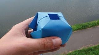 getlinkyoutube.com-How to make a paper water bomb - Fun origami !