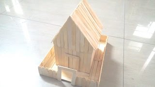 getlinkyoutube.com-DIY: How to make a house using ice sticks /Popsicle sticks