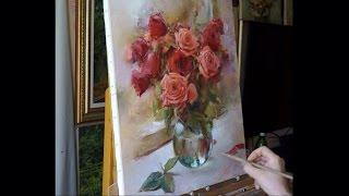 "getlinkyoutube.com-Process of creating oil painting. Yesterday's roses. ""Вчерашние розы"" живопись маслом Alla Prima"