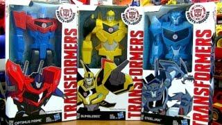getlinkyoutube.com-Wave 1 - Titan Heros Transformers Robots In Disguise Toys - Steeljaw, BumbleBee, Optimus Prime