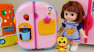 getlinkyoutube.com-Baby Doll Refrigerator toys & Pororo Food toys