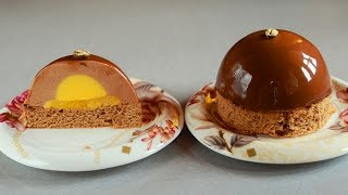 getlinkyoutube.com-Chocolate Espresso Mousse Cakes with Mango Filling and Chocolate Mirror Glaze