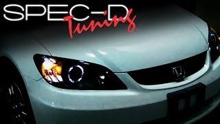 SPECDTUNING INSTALLATION VIDEO: 2004-2005 HONDA CIVIC HEAD LIGHTS / PROJECTOR HEAD LIGHTS