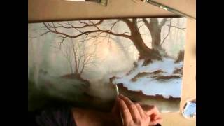 getlinkyoutube.com-Painting Silver Birch trees in a woodland Oil Painting by Alan Kingwell