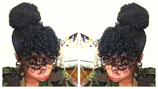 getlinkyoutube.com-Curly Bangs & Faux Bun | Natural Hair Tutorial