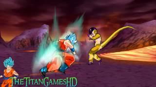 getlinkyoutube.com-Dragon Ball Z Shin Budokai 2 - Fukkatsu No F - Goku Ssj God Blue Vs Freezer Gold