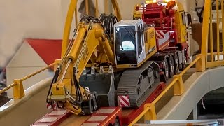 getlinkyoutube.com-RC truck excavator transport to the construction site! Amazing stuff!