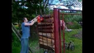 getlinkyoutube.com-Firewood holder / Držiak na rezanie palivového dreva