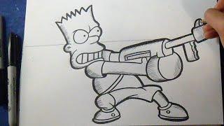getlinkyoutube.com-Cómo dibujar a Bart Simpson armado | How to Draw Bart Simpson